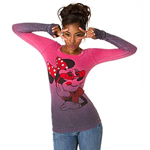 Long Sleeve Thermal Minnie Mouse Tee for Women