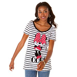 Striped Oops Minnie Mouse Tee for Women