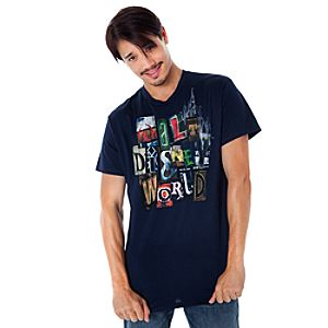 Spell It Out Walt Disney World Tee for Men -- Navy