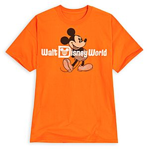 Faded Walt Disney World Mickey Mouse Tee for Adults -- Orange