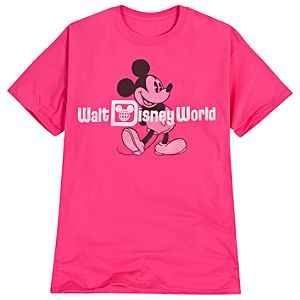 Faded Walt Disney World Mickey Mouse Tee for Adults -- Pink