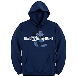 Hooded Fleece Retro Walt Disney World Mickey Mouse Sweatshirt for Adults