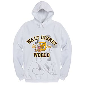 Hooded Fleece Walt Disney World Mickey Mouse Sweatshirt for Adults -- White