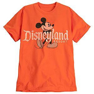 Classic Disneyland Mickey Mouse Tee for Adults -- Orange