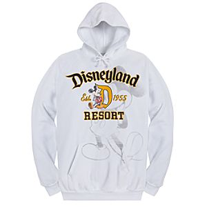Pullover Fleece Disneyland Mickey Mouse Hoodie for Adults -- White
