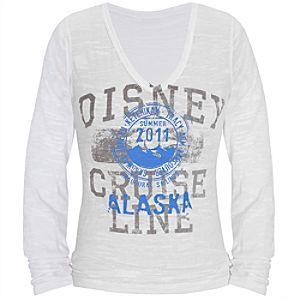 Disney Cruise Line Burnout Long Sleeve V-Neck Alaska Tee for Women