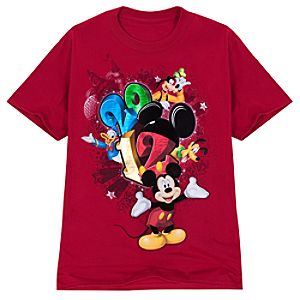 2012 Flocked Walt Disney World Resort Tee for Adults -- Red