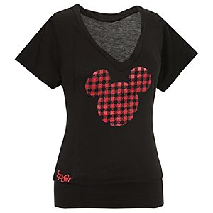 Epcot World Showcase Canada Pavilion V-Neck Mickey Mouse Tee for Women