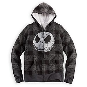 Plaid Jack Skellington Fleece Hoodie for Men