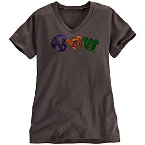 Walt Disney World Boo Halloween Mickey Mouse Tee for Women