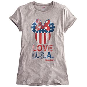 Limited Availability Disneyland U.S.A. Flag Minnie Mouse Tee for Women
