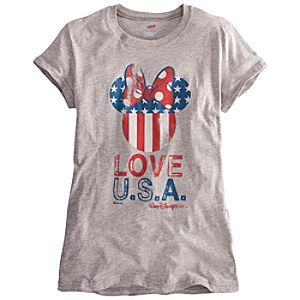 Limited Availability Walt Disney World U.S.A. Flag Minnie Mouse Tee for Women
