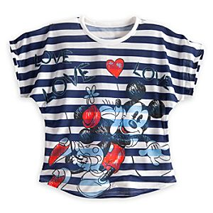 Minnie and Mickey Mouse Love Love Love Tee for Women