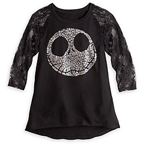 Jack Skellington Lace Sleeve Tee for Women