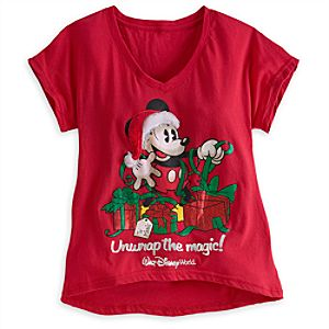 Santa Mickey Mouse V-Neck Tee for Women - Walt Disney World