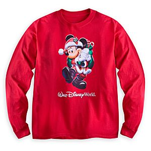 Santa Mickey Mouse Long Sleeve Tee for Adults - Walt Disney World