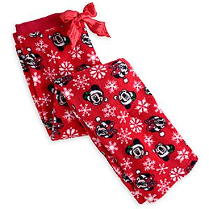 Santa Mickey and Minnie Mouse Fleece Lounge Pants for Adults