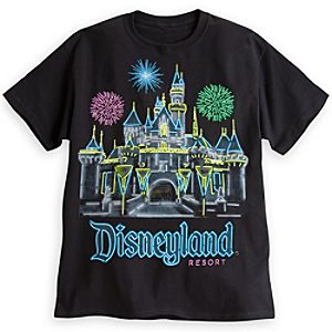 Sleeping Beauty Castle Neon Tee for Adults - Disneyland