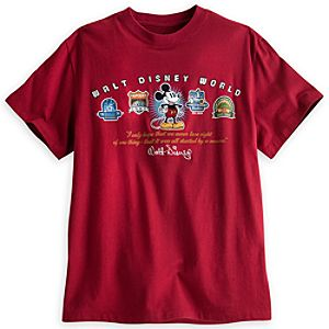 Walt Disney World Four Logos Tee for Adults - Red
