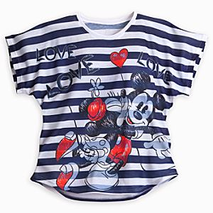 Mickey and Minnie Mouse Striped Tee for Women - Navy