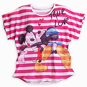 Mickey and Minnie Mouse Striped Tee for Women - Pink