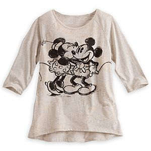 Mickey Mouse and Minnie Kiss Gold Foil Fashion Tee for Women