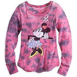 Minnie Mouse Long Sleeve Tie-Dye Top for Women