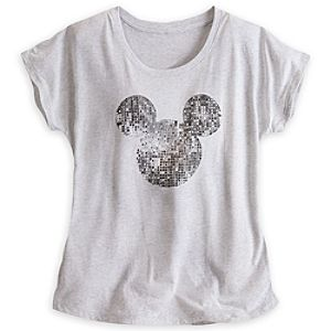 Mickey Mouse Mirror Ball Tee for Women - Gray