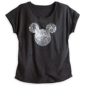 Mickey Mouse Mirror Ball Tee for Women - Black