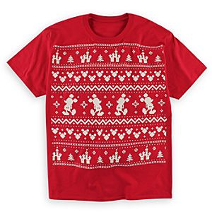 Mickey Mouse Fair Isle Tee for Adults - Red