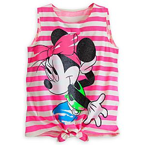Minnie Mouse Striped Neon Tank for Women