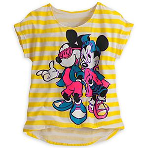 Mickey and Minnie Mouse Striped Neon Tee for Women