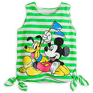 Mickey Mouse and Pluto Striped Neon Tank for Women