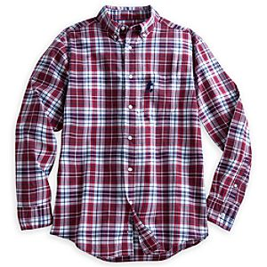 Mickey Mouse Plaid Shirt for Men - Red