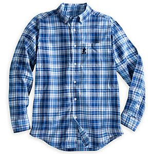 Mickey Mouse Plaid Shirt for Men - Blue