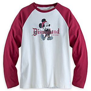 Santa Mickey Mouse Raglan Long Sleeve Tee for Men - Disneyland