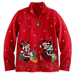 Santa Mickey and Minnie Mouse Sweatshirt Jacket