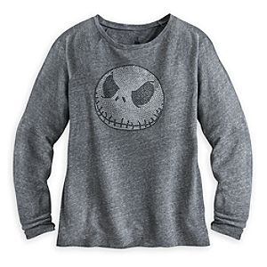 Jack Skellington Studded Long Sleeve Tee for Women
