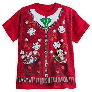 Santa Mickey Mouse and Friends Cardigan Vest Tee for Adults