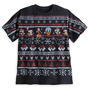 Santa Mickey Mouse and Friends Cross Stitch Tee for Adults