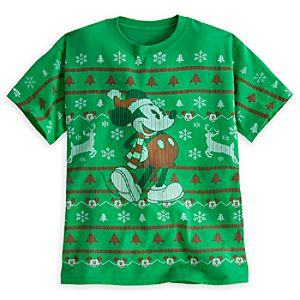 Santa Mickey Mouse Herringbone Stitch Tee for Adults