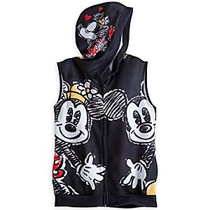 Mickey and Minnie Mouse Sleeveless Hoodie for Women