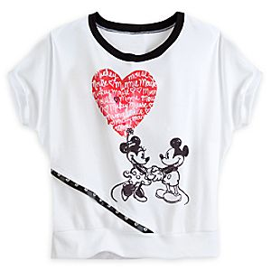 Mickey and Minnie Mouse Dolman Cut Tee for Women - White