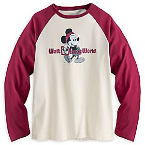 Santa Mickey Mouse Long Sleeve Raglan Tee for Men - Walt Disney World