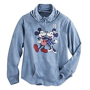 Mickey and Minnie Mouse Long Sleeve Cowl Pullover for Women