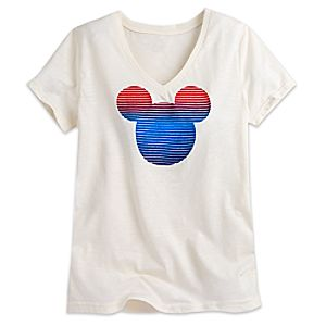 Mickey Mouse Icon Flocked Tee for Women