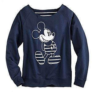 Mickey Mouse Nautical Stripe Long Sleeve Pullover for Women