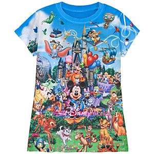 Sublimated Storybook Walt Disney World Tee for Girls