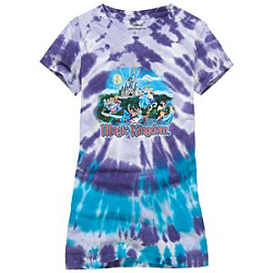 Tie-Dye Disney Storybook Attractions Magic Kingdom Tee for Girls