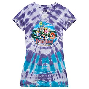 Tie-Dye Disney Storybook Attractions Disneyland Tee for Girls